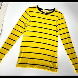 MICHAEL KORS-Size XS-Yellow, Blk Striped LS Tee